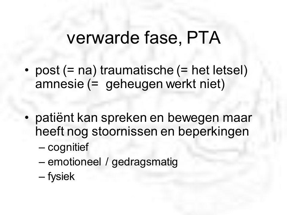 verwarde fase, PTA post (= na) traumatische (= het letsel) amnesie (= geheugen werkt niet)