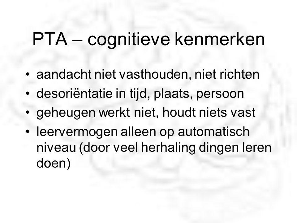 PTA – cognitieve kenmerken