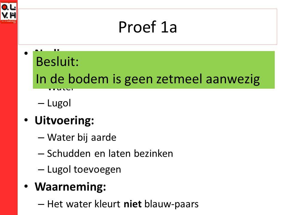 Proef 1a Besluit: In de bodem is geen zetmeel aanwezig Nodig: