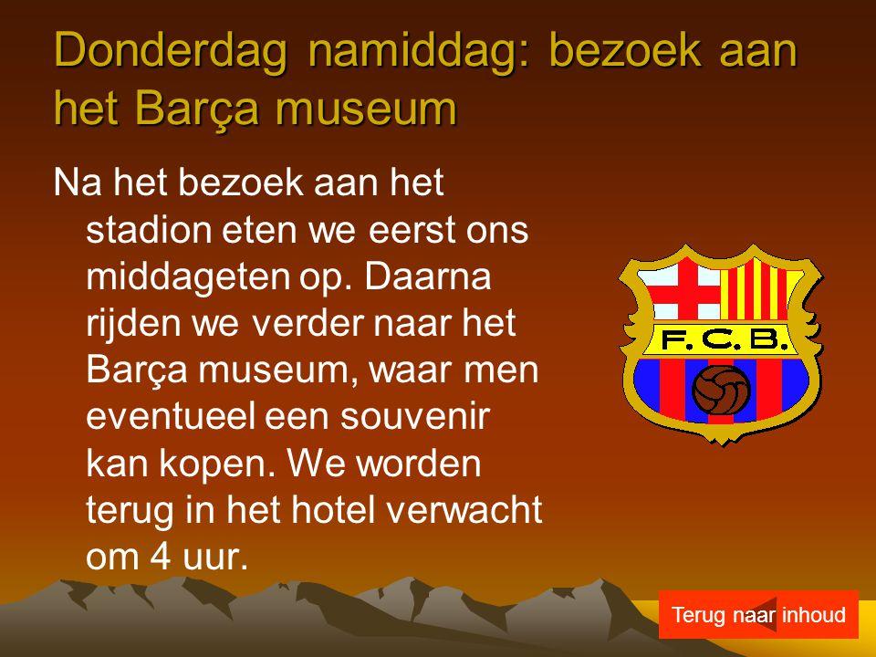 Donderdag namiddag: bezoek aan het Barça museum