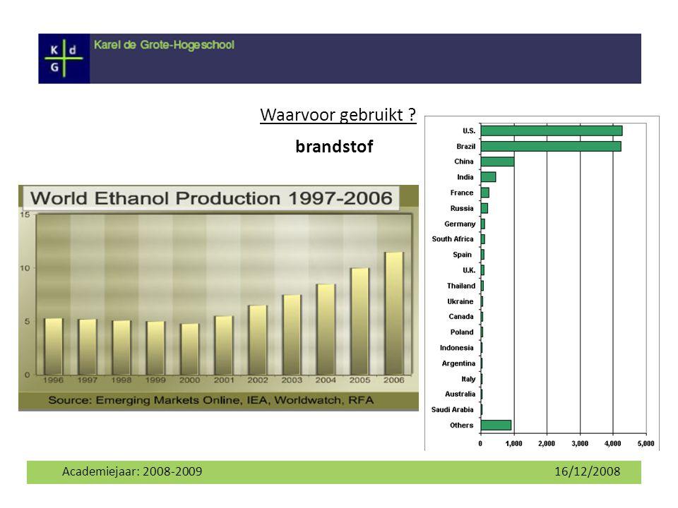 Waarvoor gebruikt brandstof Academiejaar: 2008-2009 16/12/2008 6