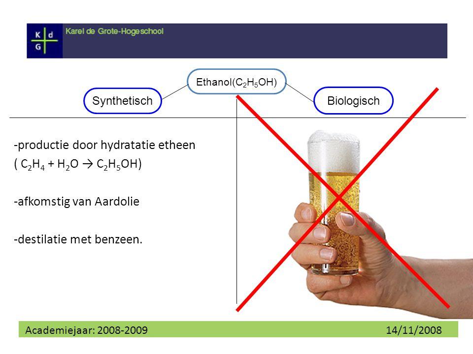 -productie door hydratatie etheen ( C2H4 + H2O → C2H5OH)