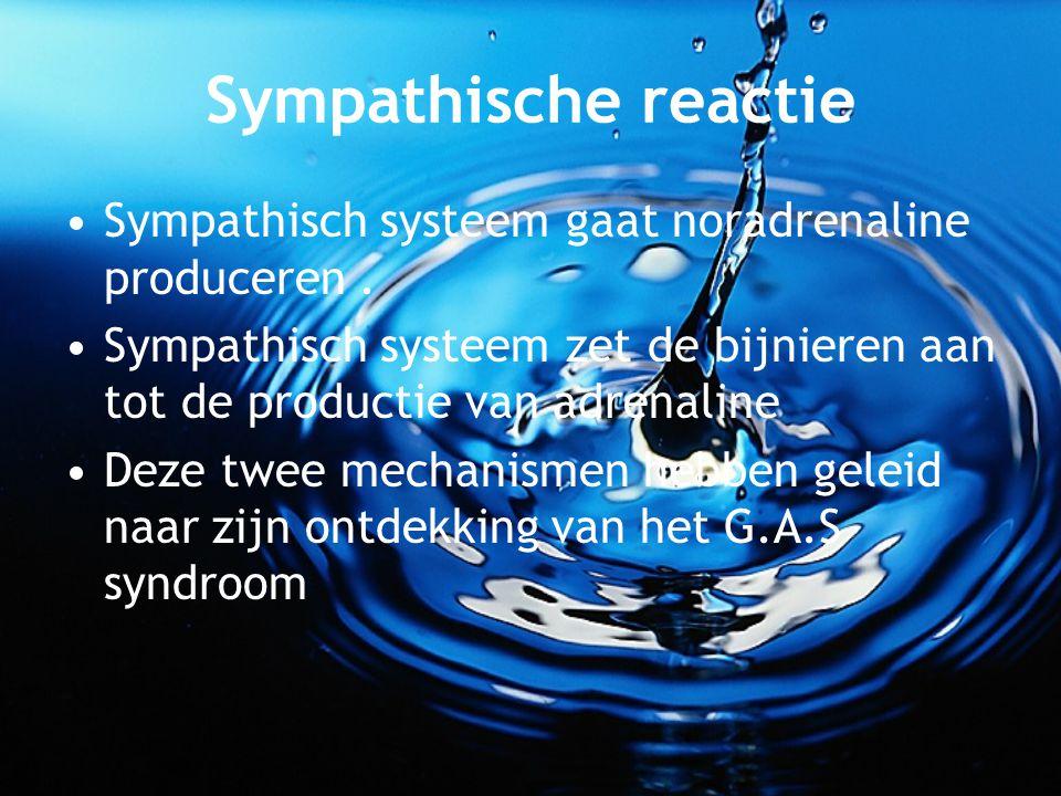 Sympathische reactie Sympathisch systeem gaat noradrenaline produceren . Sympathisch systeem zet de bijnieren aan tot de productie van adrenaline.