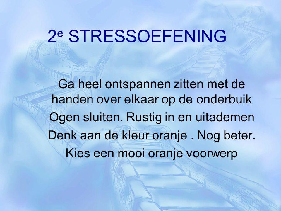 2e STRESSOEFENING Ga heel ontspannen zitten met de handen over elkaar op de onderbuik. Ogen sluiten. Rustig in en uitademen.