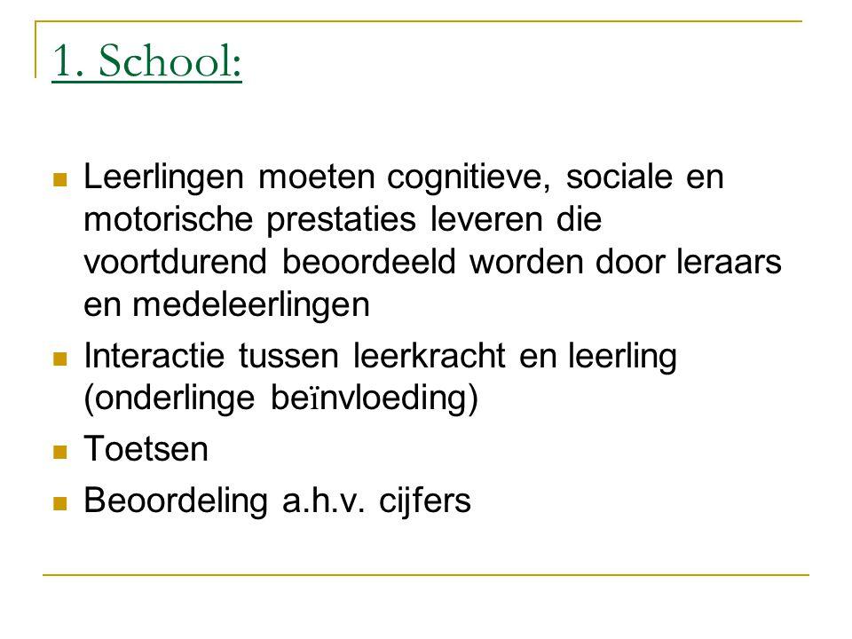 1. School: Leerlingen moeten cognitieve, sociale en motorische prestaties leveren die voortdurend beoordeeld worden door leraars en medeleerlingen.