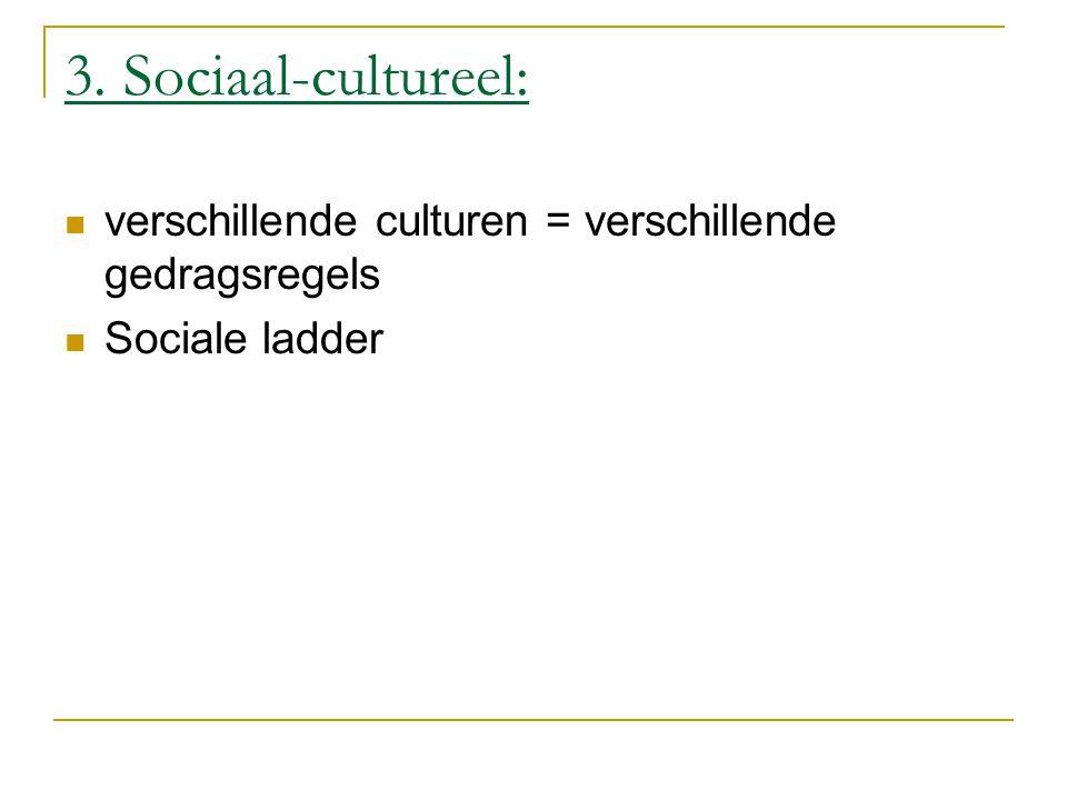 3. Sociaal-cultureel: verschillende culturen = verschillende gedragsregels Sociale ladder