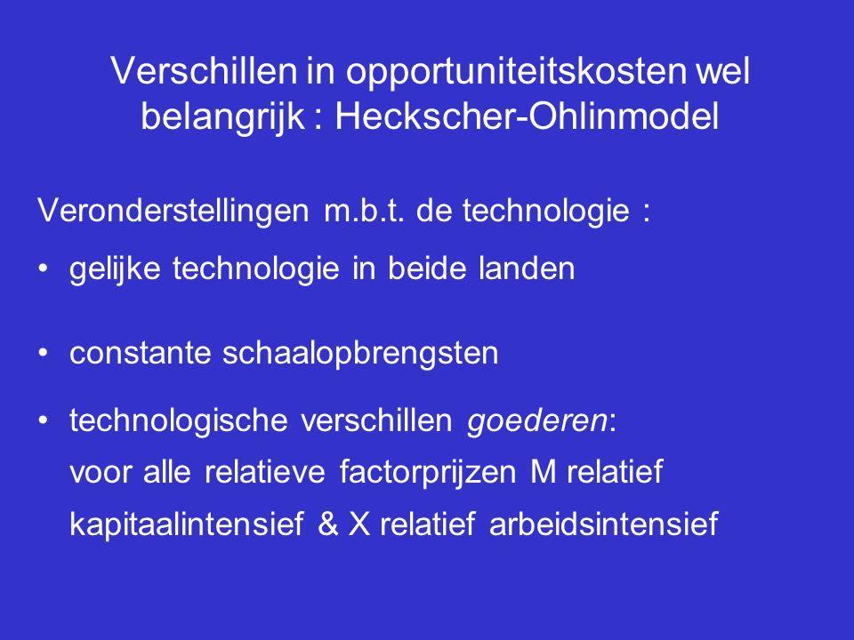 Verschillen in opportuniteitskosten wel belangrijk : Heckscher-Ohlinmodel