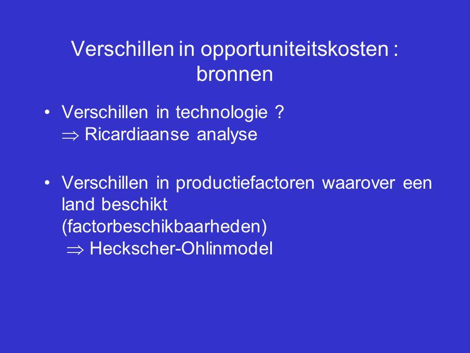 Verschillen in opportuniteitskosten : bronnen