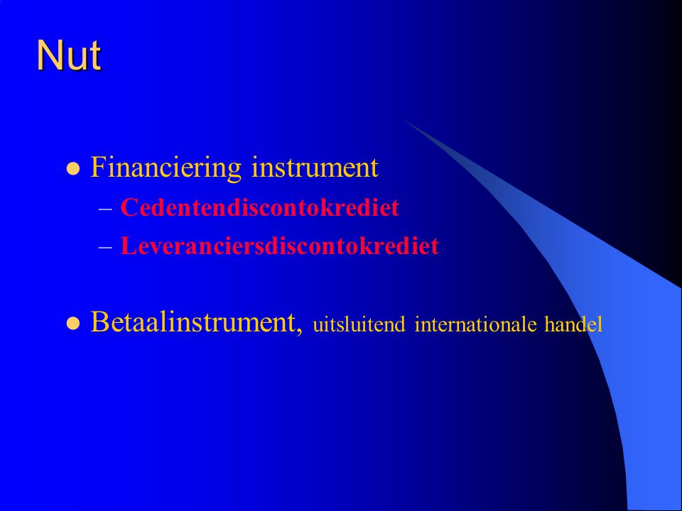 Nut Financiering instrument