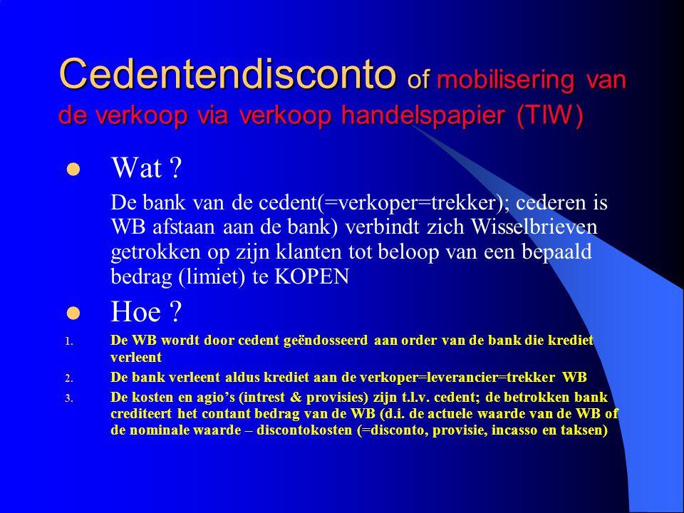 Cedentendisconto of mobilisering van de verkoop via verkoop handelspapier (TIW)