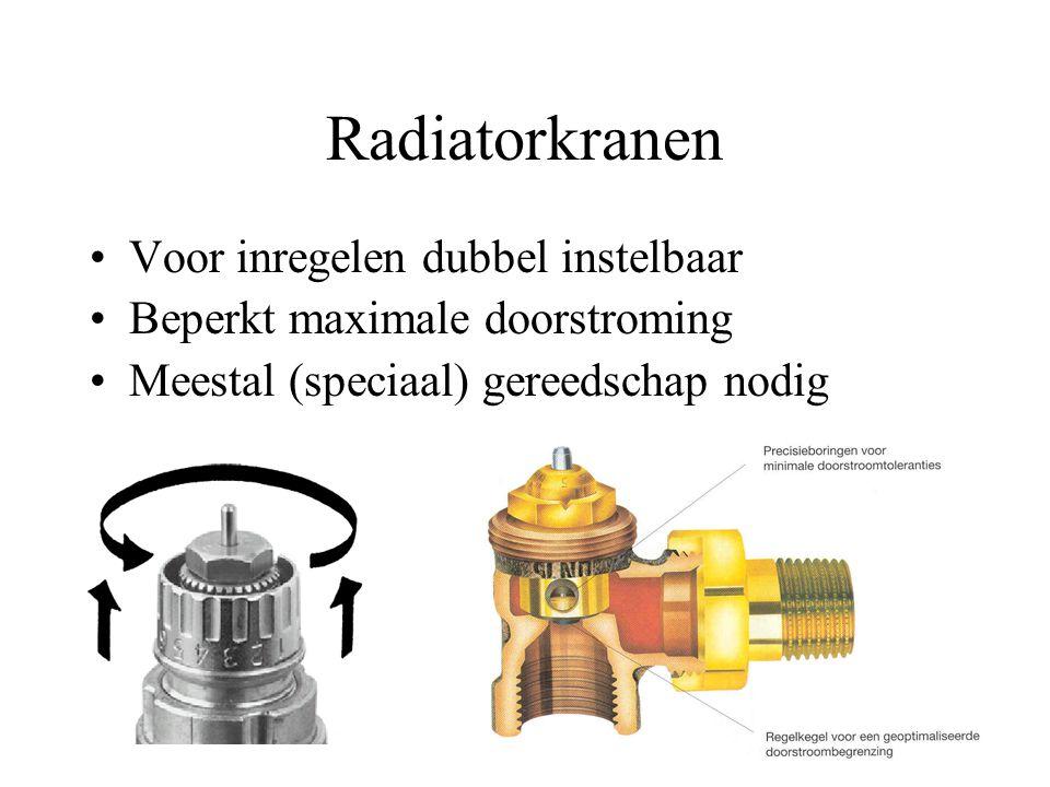 Radiatorkranen Voor inregelen dubbel instelbaar