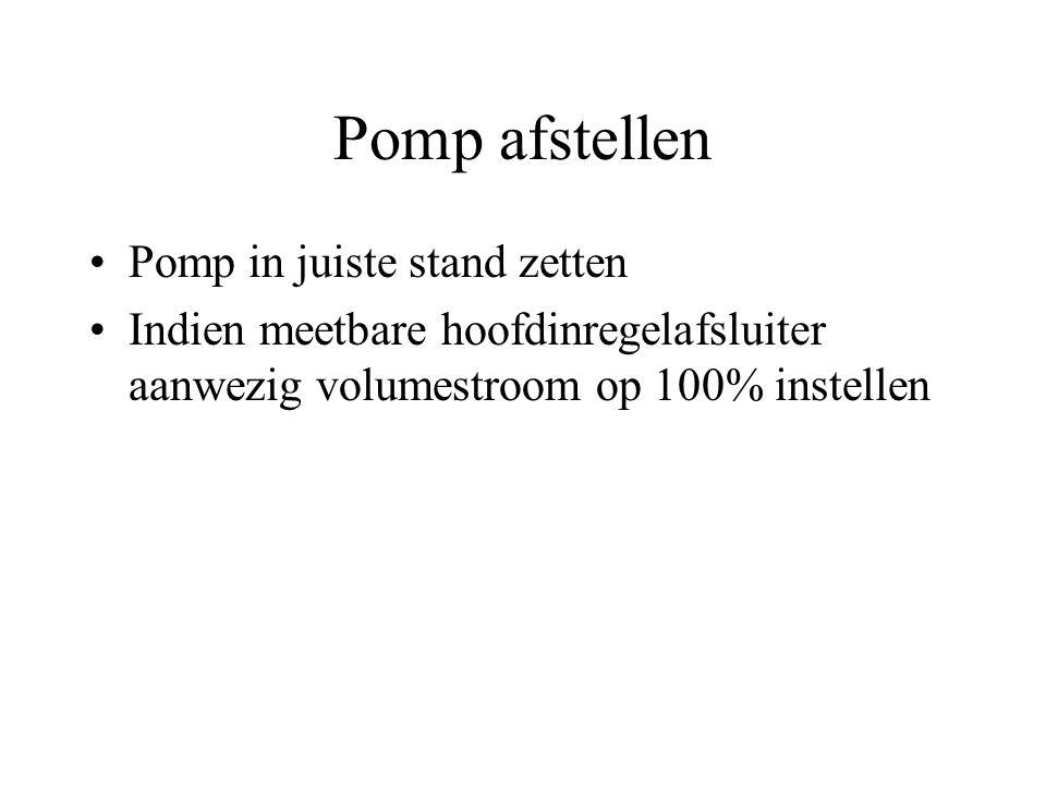 Pomp afstellen Pomp in juiste stand zetten