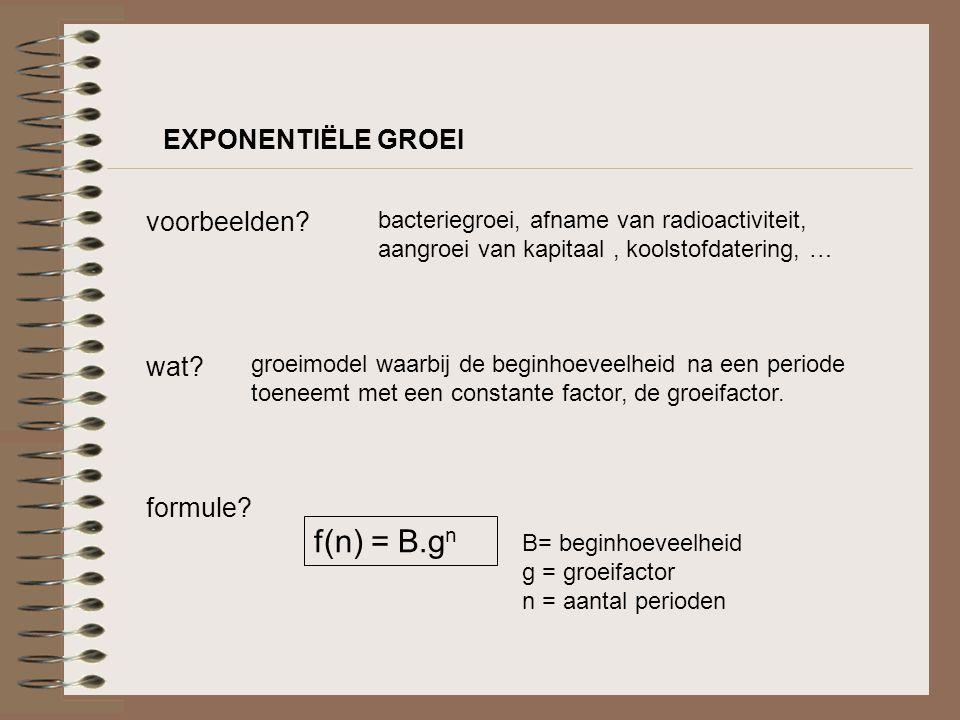 f(n) = B.gn EXPONENTIËLE GROEI voorbeelden wat formule