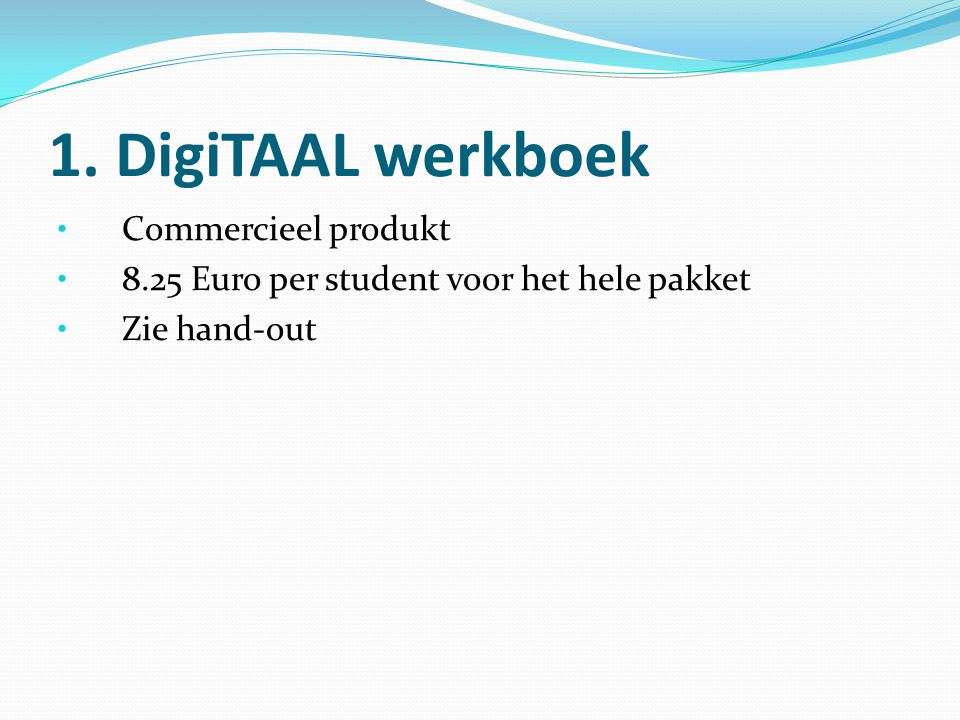 1. DigiTAAL werkboek Commercieel produkt