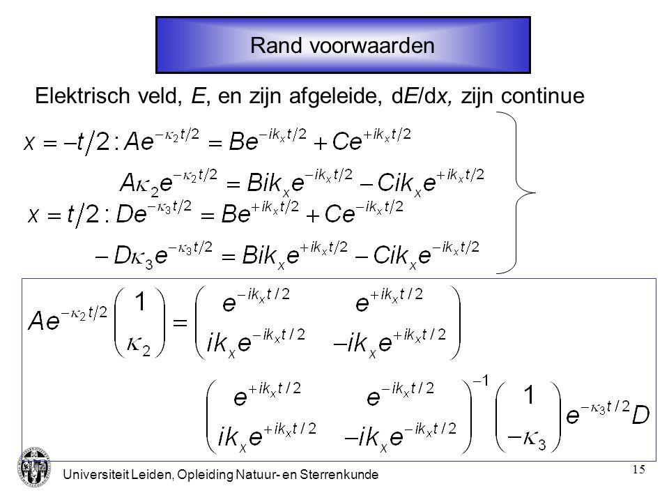 Rand voorwaarden Elektrisch veld, E, en zijn afgeleide, dE/dx, zijn continue