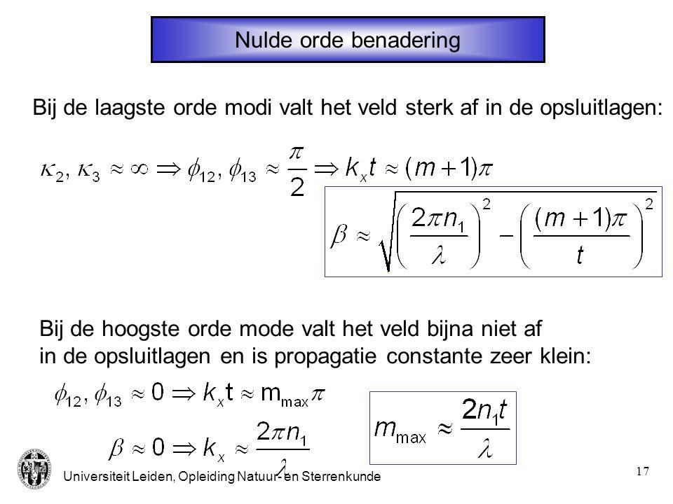 Nulde orde benadering Bij de laagste orde modi valt het veld sterk af in de opsluitlagen: Bij de hoogste orde mode valt het veld bijna niet af.