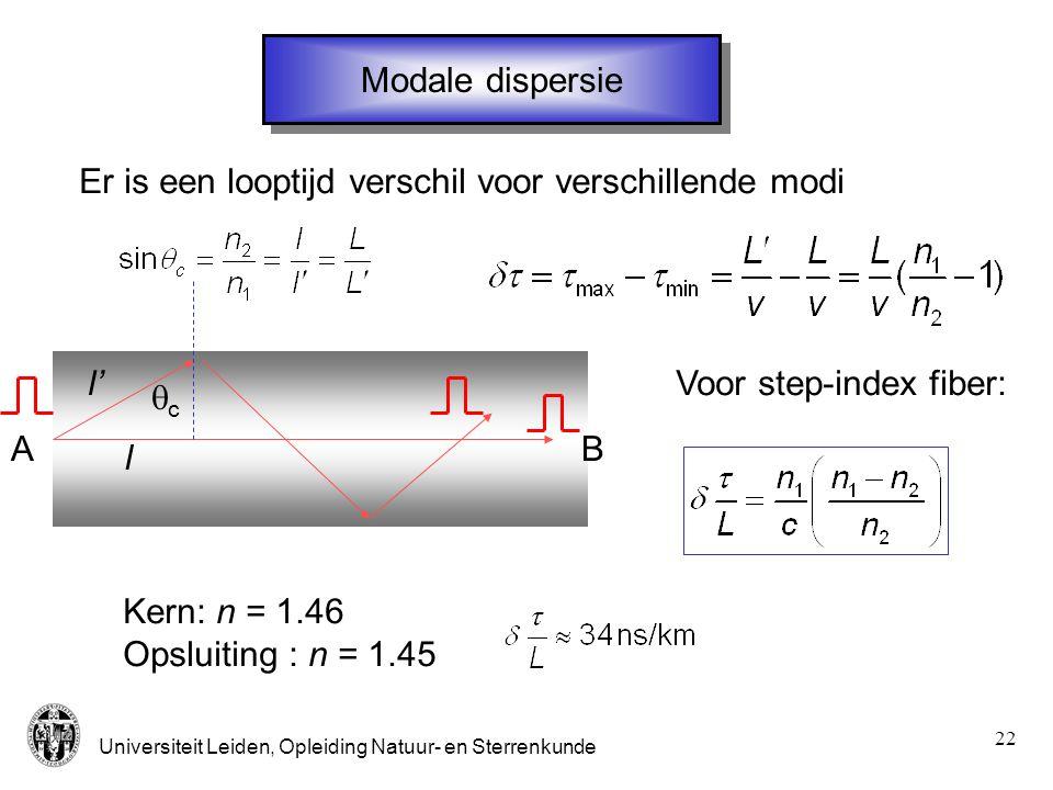 Modale dispersie Er is een looptijd verschil voor verschillende modi. l' Voor step-index fiber: qc.