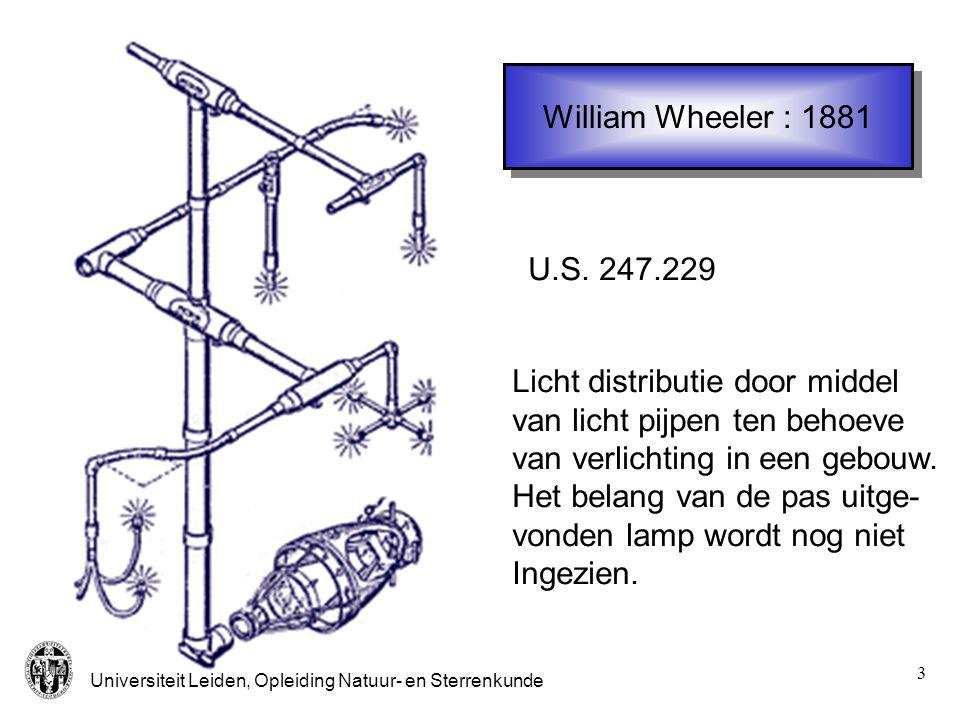 William Wheeler : 1881 U.S. 247.229. Licht distributie door middel. van licht pijpen ten behoeve.