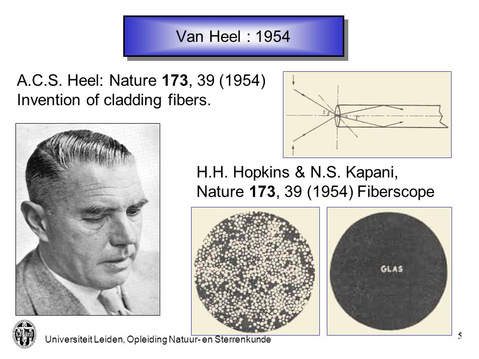 Van Heel : 1954 A.C.S. Heel: Nature 173, 39 (1954) Invention of cladding fibers. H.H. Hopkins & N.S. Kapani,