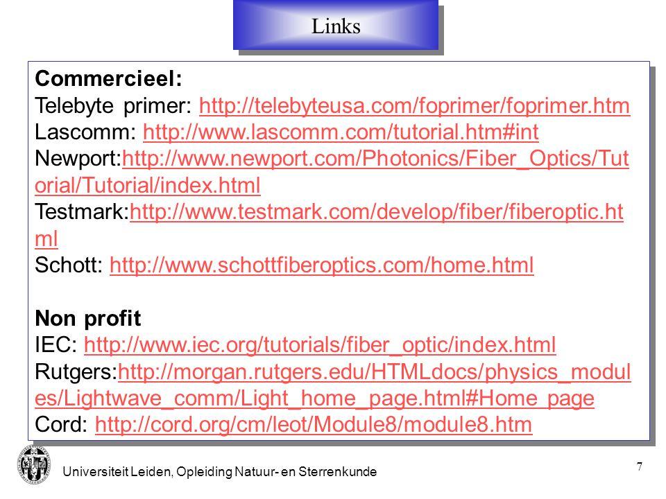 Links Commercieel: Telebyte primer: http://telebyteusa.com/foprimer/foprimer.htm. Lascomm: http://www.lascomm.com/tutorial.htm#int.