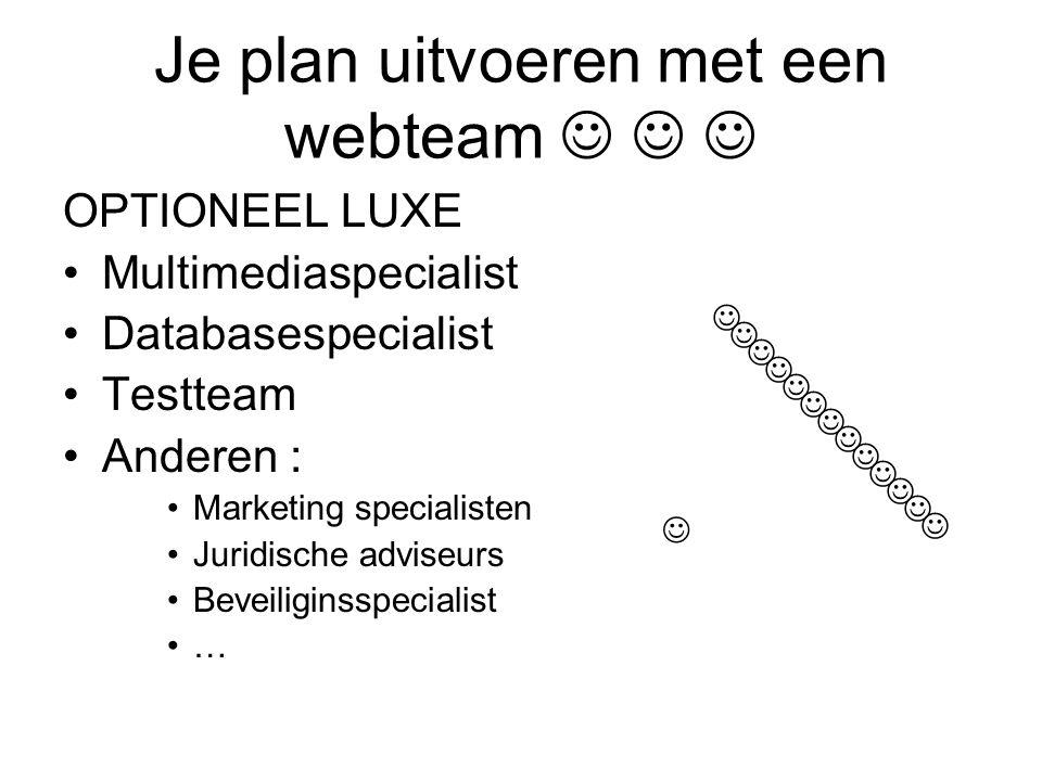 Je plan uitvoeren met een webteam   
