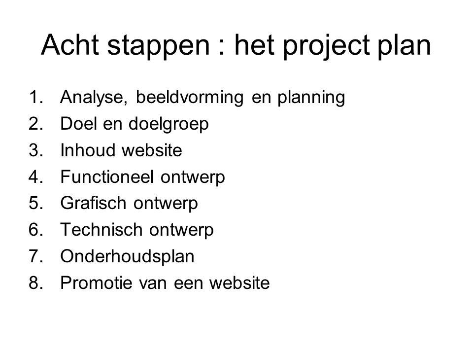 Acht stappen : het project plan