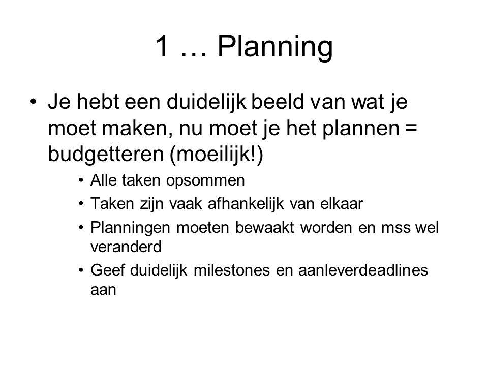 1 … Planning Je hebt een duidelijk beeld van wat je moet maken, nu moet je het plannen = budgetteren (moeilijk!)