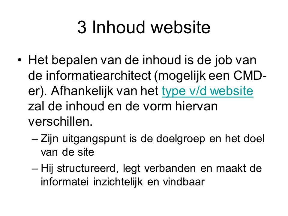 3 Inhoud website