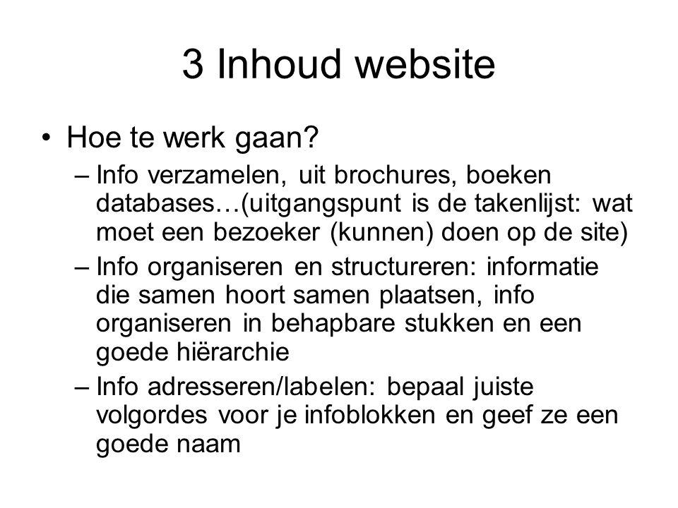 3 Inhoud website Hoe te werk gaan