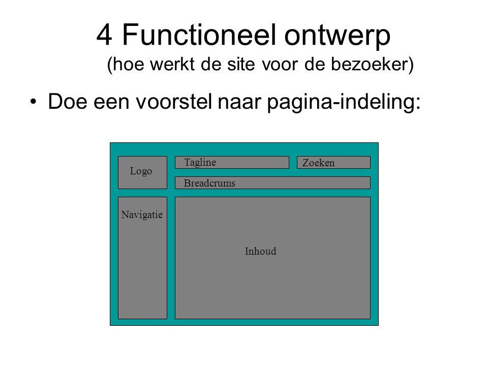 4 Functioneel ontwerp (hoe werkt de site voor de bezoeker)