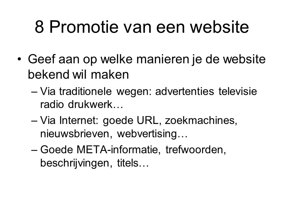 8 Promotie van een website