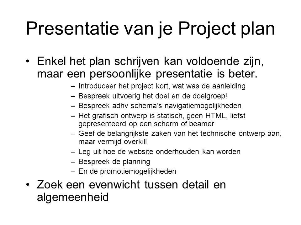 Presentatie van je Project plan