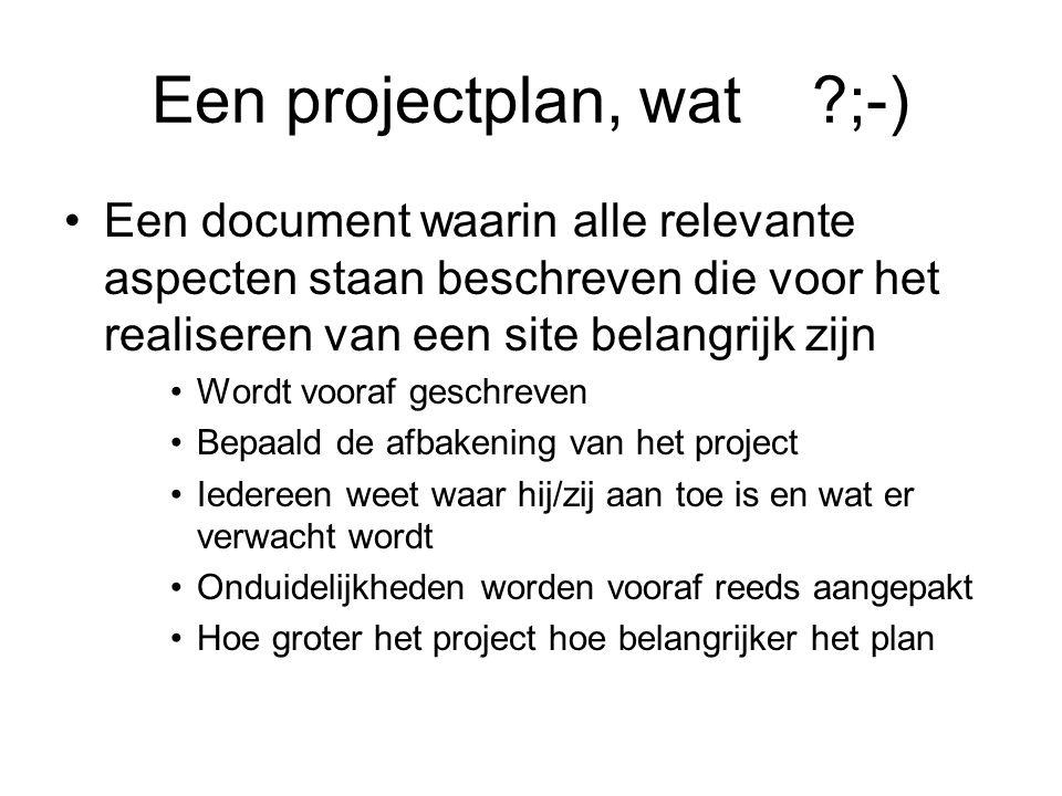 Een projectplan, wat ;-)