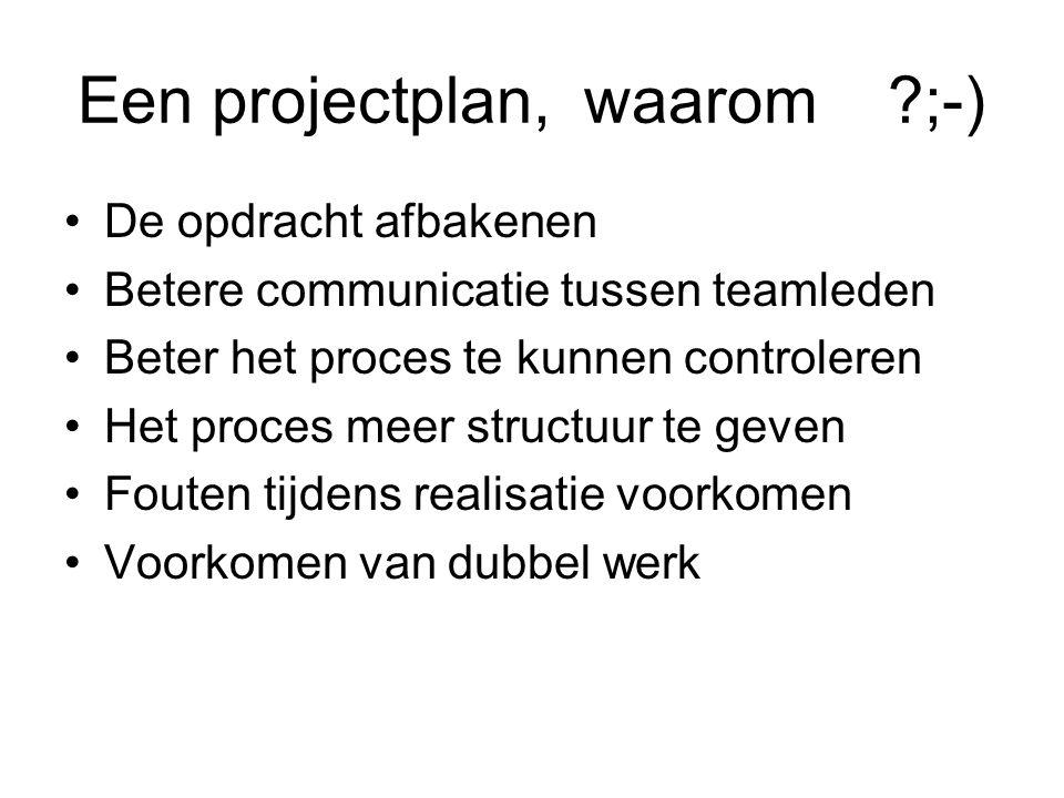 Een projectplan, waarom ;-)