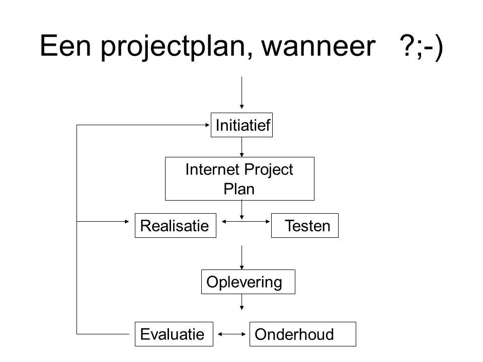Een projectplan, wanneer ;-)