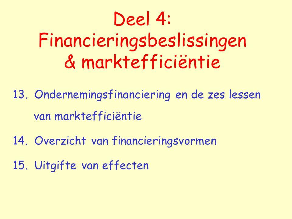 Deel 4: Financieringsbeslissingen & marktefficiëntie
