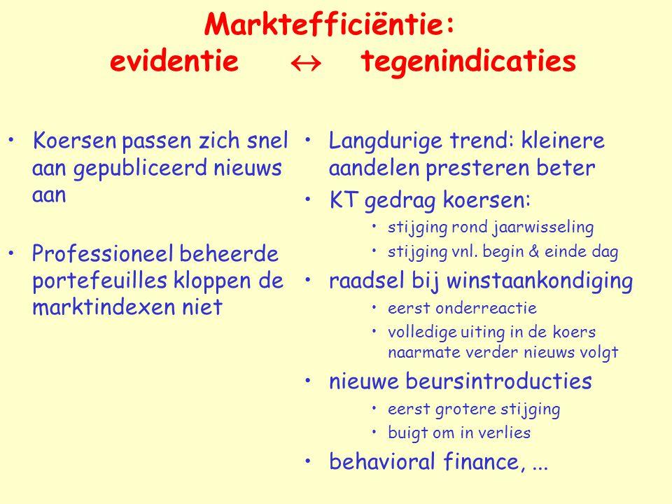 Marktefficiëntie: evidentie  tegenindicaties