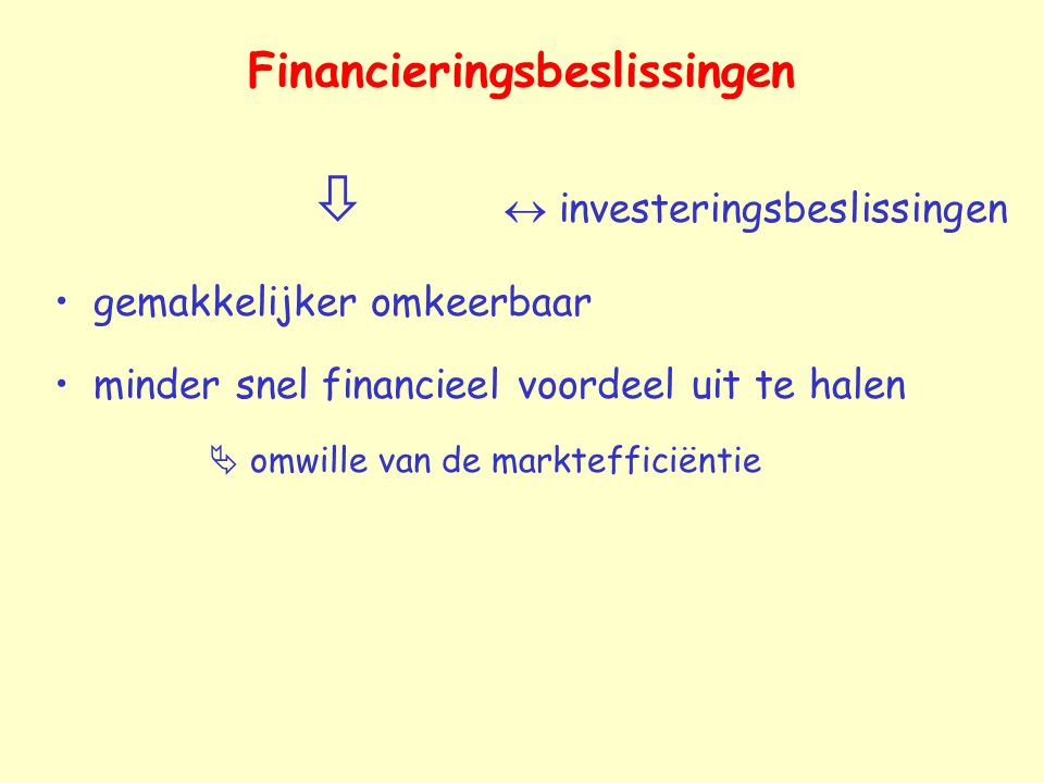 Financieringsbeslissingen