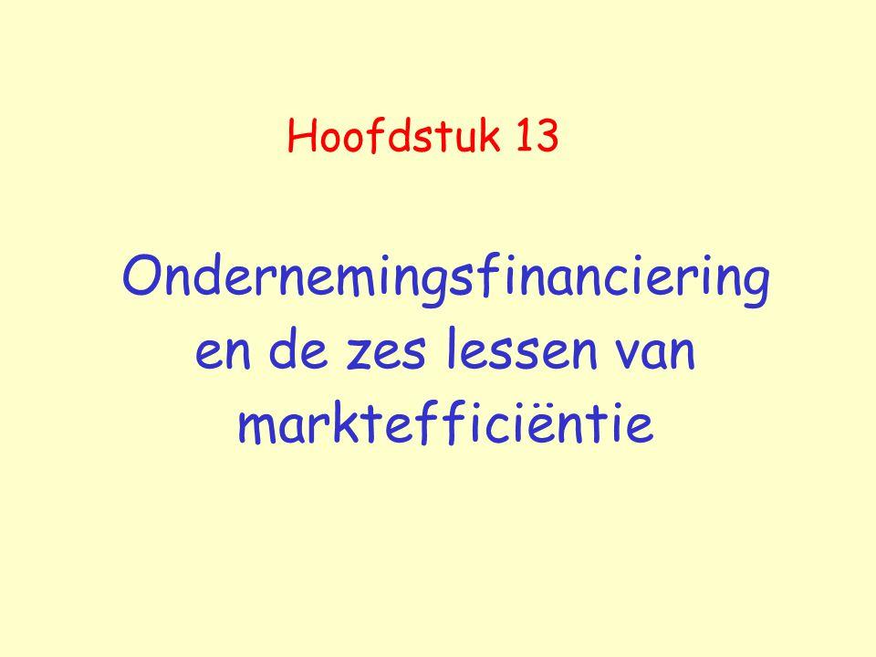 Ondernemingsfinanciering en de zes lessen van marktefficiëntie