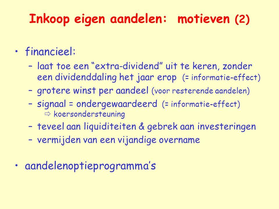 Inkoop eigen aandelen: motieven (2)