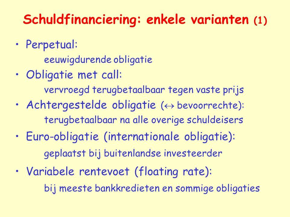 Schuldfinanciering: enkele varianten (1)