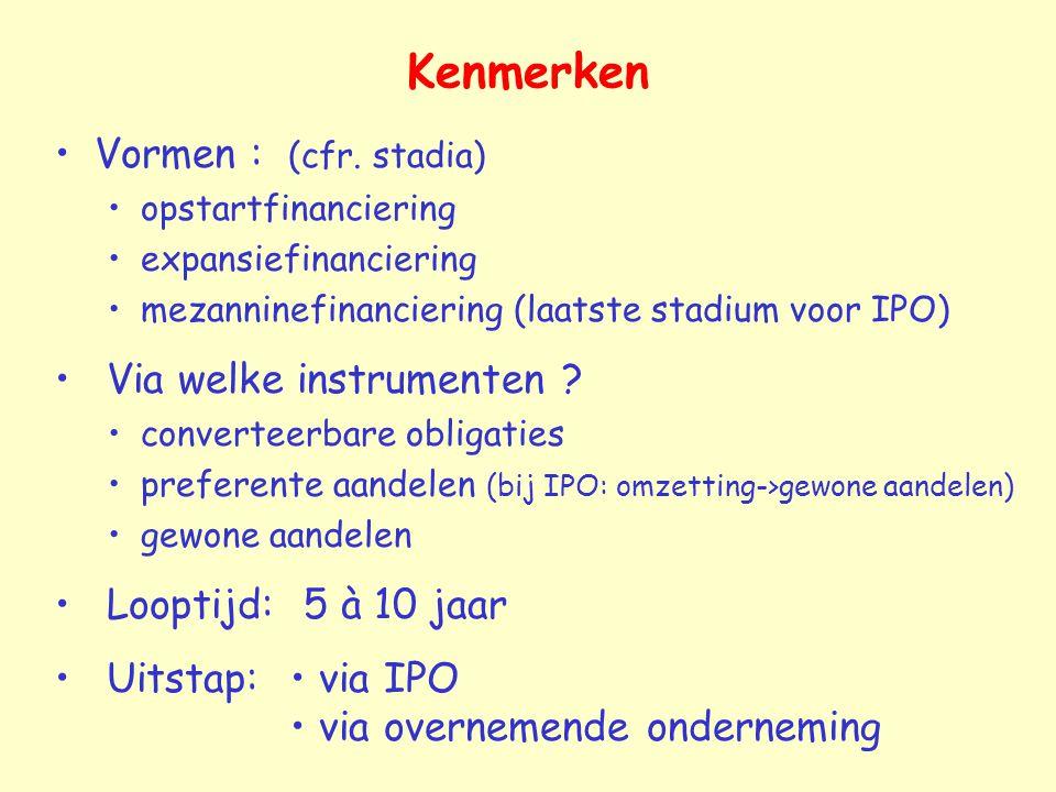 Kenmerken Vormen : (cfr. stadia) Via welke instrumenten