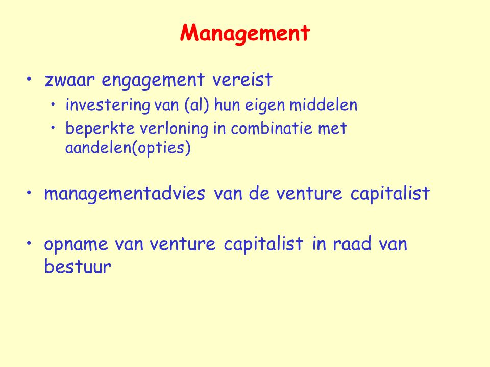 Management zwaar engagement vereist