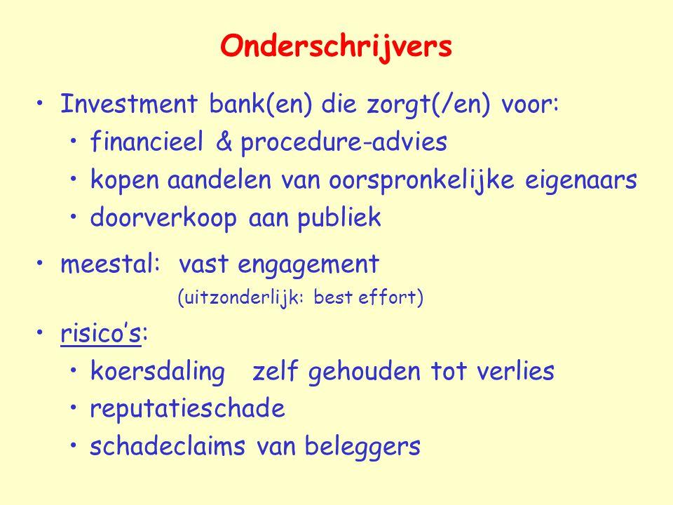 Onderschrijvers Investment bank(en) die zorgt(/en) voor: