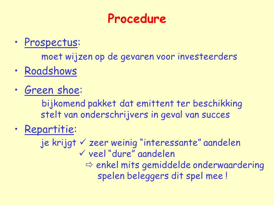 Procedure Prospectus: Roadshows