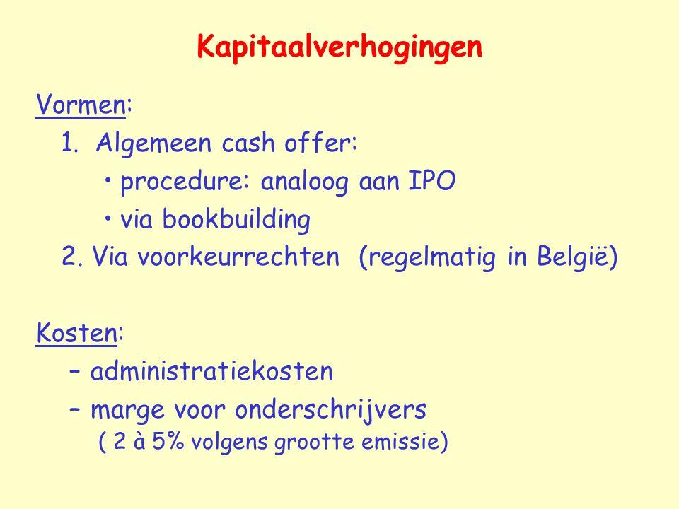 Kapitaalverhogingen Vormen: 1. Algemeen cash offer: