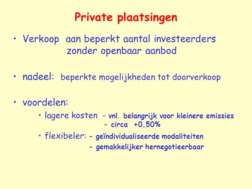 Private plaatsingen Verkoop aan beperkt aantal investeerders zonder openbaar aanbod.