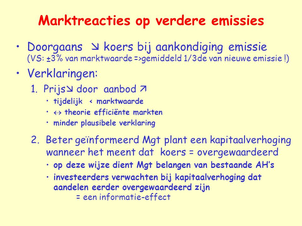 Marktreacties op verdere emissies