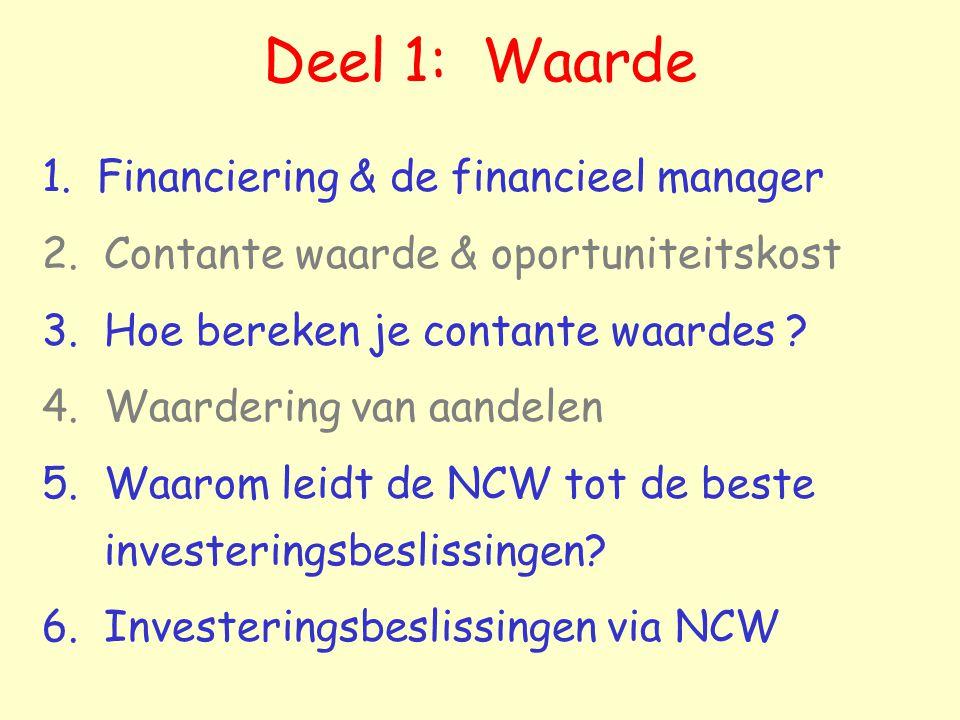 Deel 1: Waarde 1. Financiering & de financieel manager