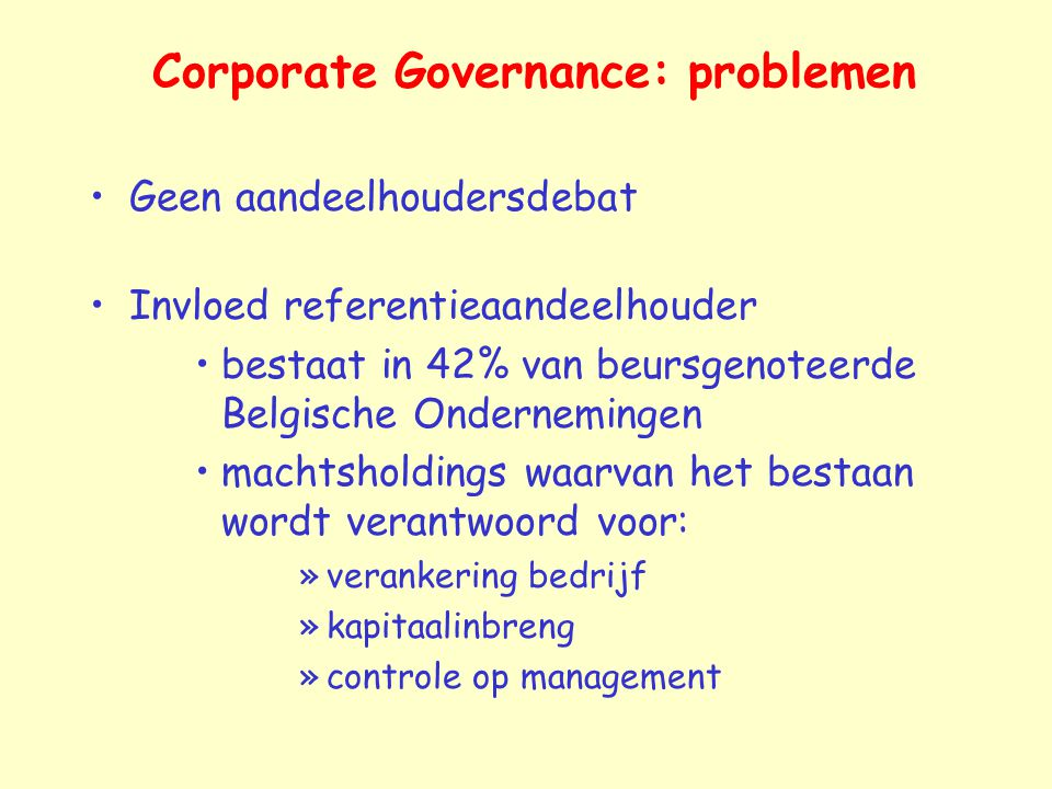 Corporate Governance: problemen